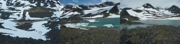 Lillsjön lake, by Tarfala Research Station, shown at the end of June, prior to snow melt (left), in early July after snow melt (centre) and flooding the valley after a day of heavy rainfall (right). This flooding prevented us from travelling onto the glacier.