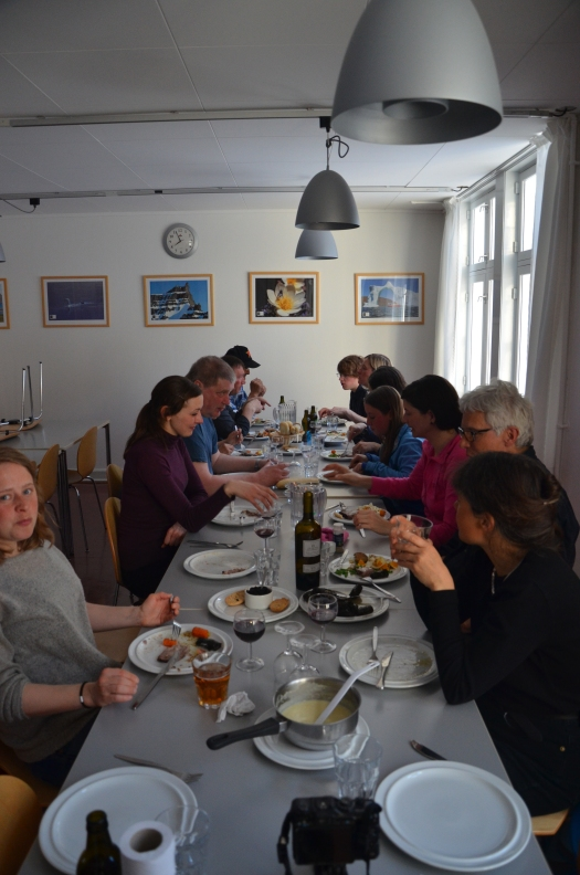 Researchers enjoying some Greenlandic (and some not so Greenlandic) delights