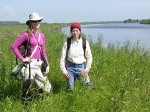 Two of our botanists working next to one of the tributaies to the Ob near Khanti-Mansiysk