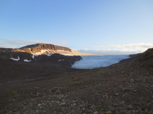 Chamberlain Glacier and its foreland as we arrived at about 10pm.