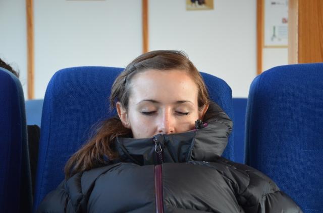 Kathryn deep in thought (asleep) below deck