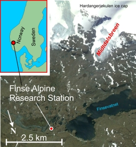 Location of Finse and Midtdalsbreen in Norway.