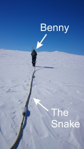 Benny tows 'The Snake' GPR system along Midtdalsbreen.