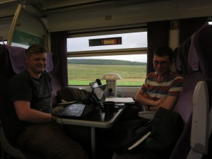 Joss and Paul on the train from Thurso to Inverness