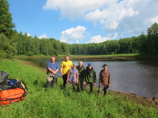 All of us leaving Mukhrino, after carrying out luggage to the boat pick-up point. From left: Mark, Joss, Roxane, Angela, Richard and Paul. The tough guys are on the left - no mosquito nets!